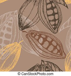 Cocoa hand drawn seamless pattern. Vector illustration
