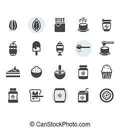 Cocoa icon and symbol set in glyph design