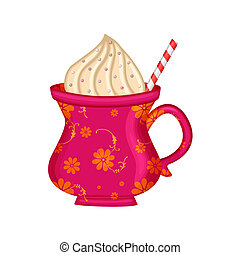 cocoa mug - a colorful mug of cocoa and whipped cream