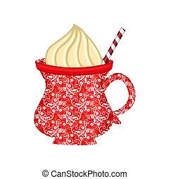 cocoa mug - a colorful mug of cocoa and whipped cream