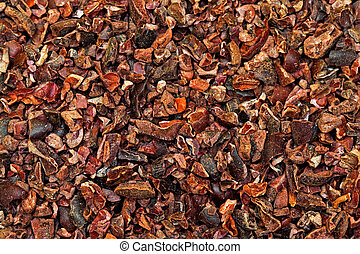 Cocoa nibs texture - Bunch of raw organic crushed cocoa nibs...