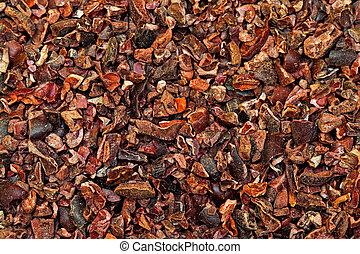 Cocoa nibs texture - Bunch of raw organic crushed cocoa nibs...