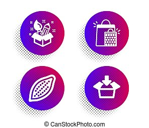 Cocoa nut, Creativity and Shopping bags icons set. Get box...