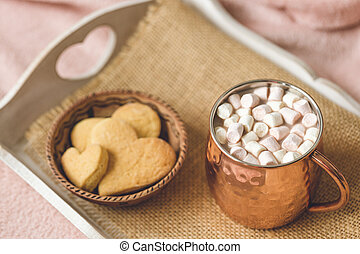 Cocoa on and heart cookies, Valentines Day template