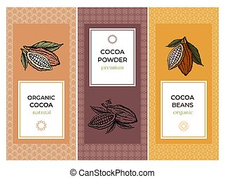 Cocoa packaging design templates set. Line style illustration. Cacao powder