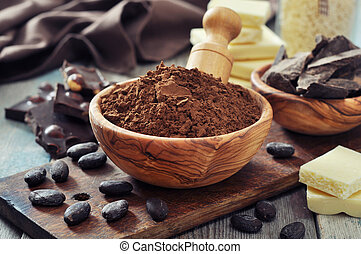 Cocoa powder - Chocolate pieces with cocoa beans and cocoa...