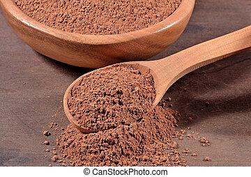 Cocoa powder in a spoon