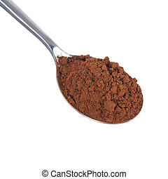 Cocoa powder in a spoon isolated