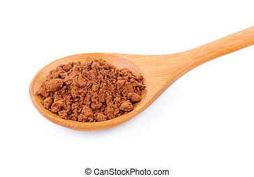Cocoa powder in a wood spoon on white background