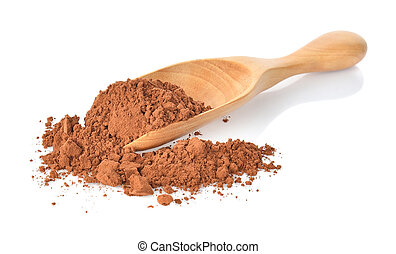 Cocoa powderl in wooden spoon on white background