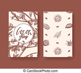 Cocoa vector illustration of superfood two sides flyer. Fruit, leaf and bean engraving. Organic choco healthy food sketch. Chocolate packaging, cacao banner, poster.