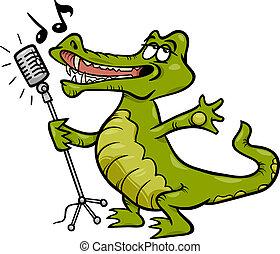 cocodrilo, canto, caricatura, ilustración