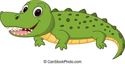cocodrilo, caricatura, feliz