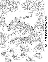 cocodrilo, colorido, página, gharial