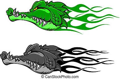cocodrilo, peligro, tatuaje