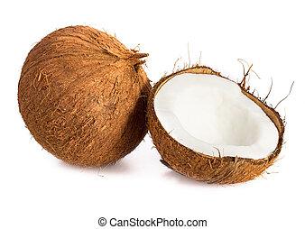 coconut., écrou, isolé, fond, coco, blanc