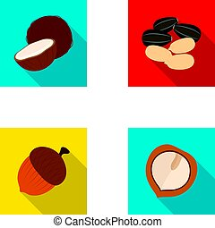 Coconut, acorn, sunflower seeds, manchueian walnut.Different kinds of nuts set collection icons in flat style vector symbol stock illustration web.