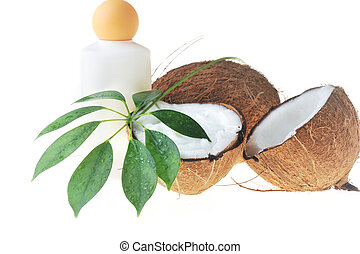 Coconut and massage oil for body close up