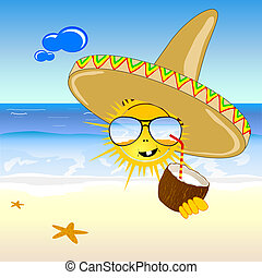 coconut and sun on the beach vector illustration