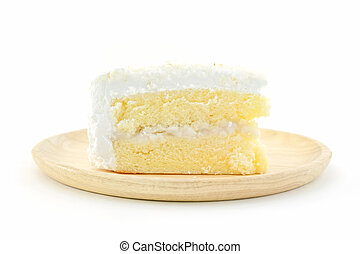 Coconut cake on white background