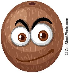 Coconut cartoon character with happy face expression on white background