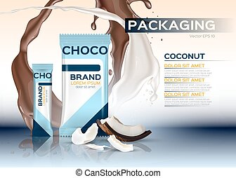 Coconut chocolate packaging Vector realistic. 3d label design product. Chocolate splash backgrounds