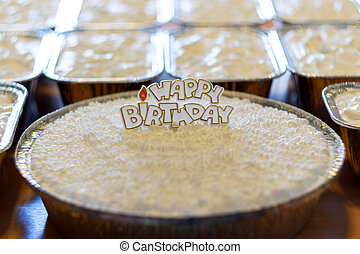 Coconut cloud cake and sweet, happy birthday