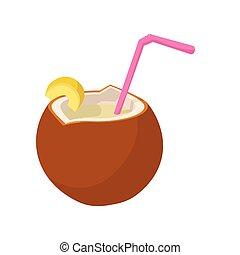 Coconut cocktail icon, cartoon style