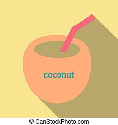 Coconut cocktail icon in cartoon style isolated on background. Surfing symbol stock vector illustration.