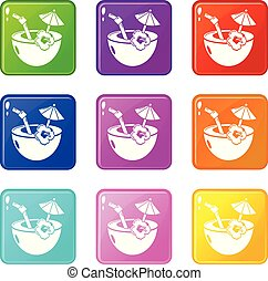 Coconut cocktail icons set 9 color collection