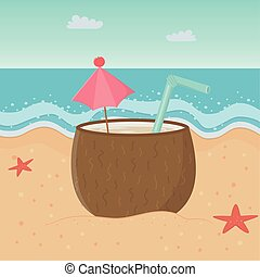 coconut cocktail in the beach design