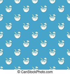 Coconut cocktail pattern vector seamless blue