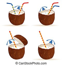 coconut cocktail vector illustration
