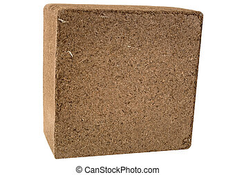 Coconut Coir Bale - Isolated - A compressed bale of ground ...