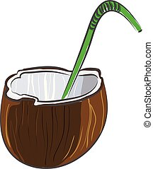 Coconut cut in half with a green straw vector illustration on white background