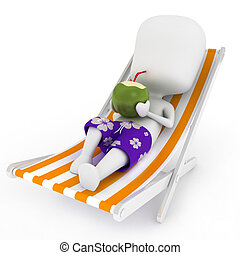 Coconut Drink - 3D Illustration of a Man Sipping Coconut...