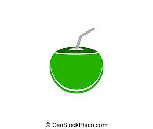 coconut drink beverage vector icon logo design template