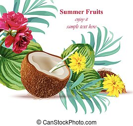 Coconut drink cocktail Tropical floral Summer refreshing background Vector