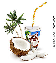 coconut drink - coconut beverage with fresh coconut and palm...