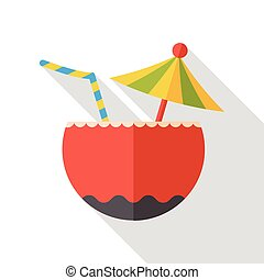 coconut drink flat icon