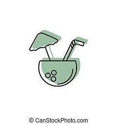 Coconut drink icon, doodle style