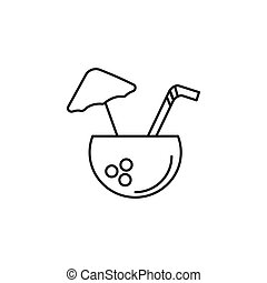 Coconut drink outline icon