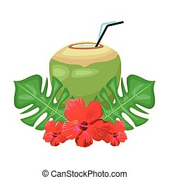 coconut drink with tropical flowers and leaves