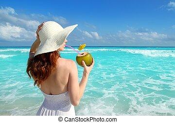 coconut fresh cocktail profile beach woman drinking tropical...