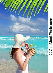 coconut fresh cocktail profile beach woman drinking