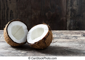 Coconut fruit on wooden table