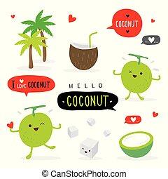 Coconut Fruit Summer Cartoon Smile Funny Cute Character Vector