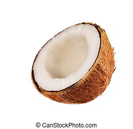 Coconut half isolated on white