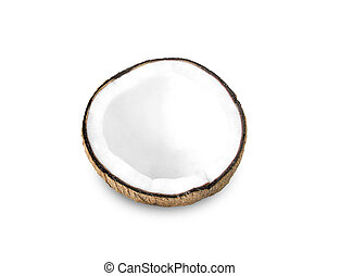 Coconut half on a white background