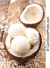 coconut ice cream on wood background